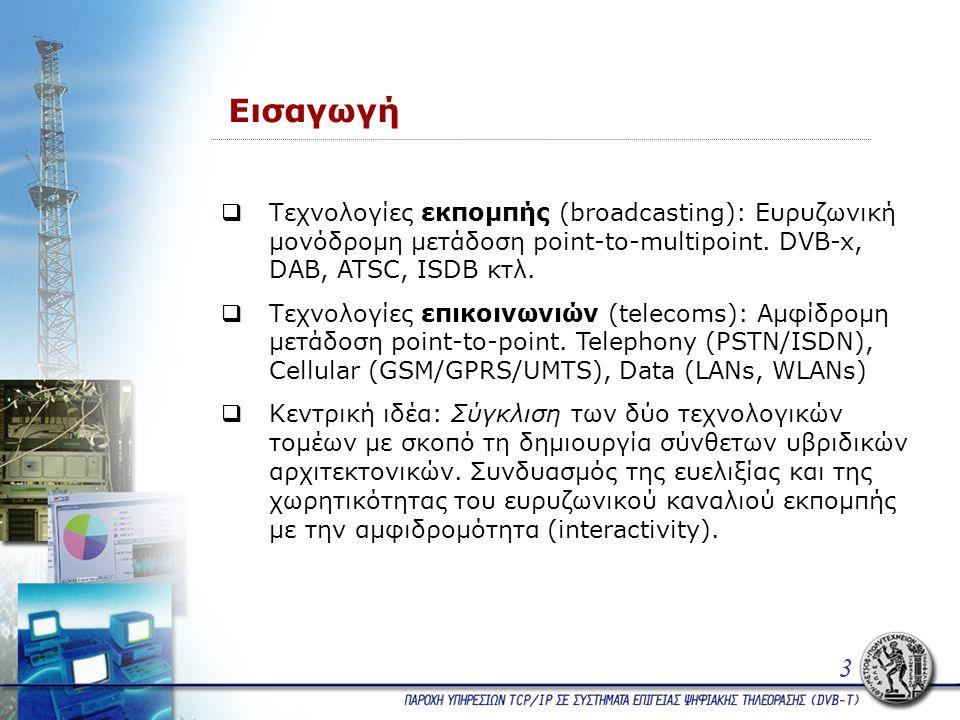Εισαγωγή  Τεχνολογίες εκπομπής (broadcasting): Ευρυζωνική μονόδρομη μετάδοση point-to-multipoint.