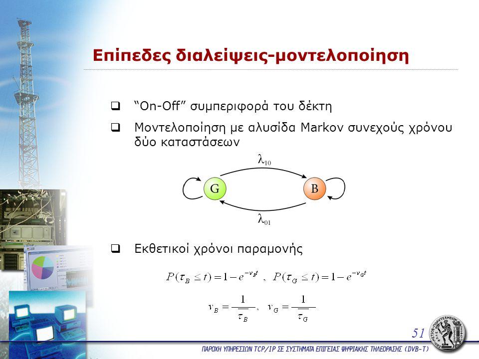 Επίπεδες διαλείψεις-μοντελοποίηση  On-Off συμπεριφορά του δέκτη  Μοντελοποίηση με αλυσίδα Markov συνεχούς χρόνου δύο καταστάσεων 51  Εκθετικοί χρόνοι παραμονής