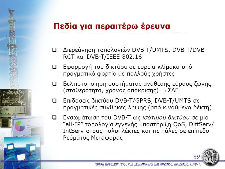 Πεδία για περαιτέρω έρευνα  Διερεύνηση τοπολογιών DVB-T/UMTS, DVB-T/DVB- RCT και DVB-T/IEEE 802.16  Εφαρμογή του δικτύου σε ευρεία κλίμακα υπό πραγματικό φορτίο με πολλούς χρήστες  Βελτιστοποίηση συστήματος ανάθεσης εύρους ζώνης (σταθερότητα, χρόνος απόκρισης) ΣΑΕ  Επιδόσεις δικτύου DVB-T/GPRS, DVB-T/UMTS σε πραγματικές συνθήκες λήψης (από κινούμενο δέκτη)  Ενσωμάτωση του DVB-T ως ισότιμου δικτύου σε μια all-IP τοπολογία εγγενής υποστήριξη QoS, DiffServ/ IntServ στους πολυπλέκτες και τις πύλες σε επίπεδο Ρεύματος Μεταφοράς 69