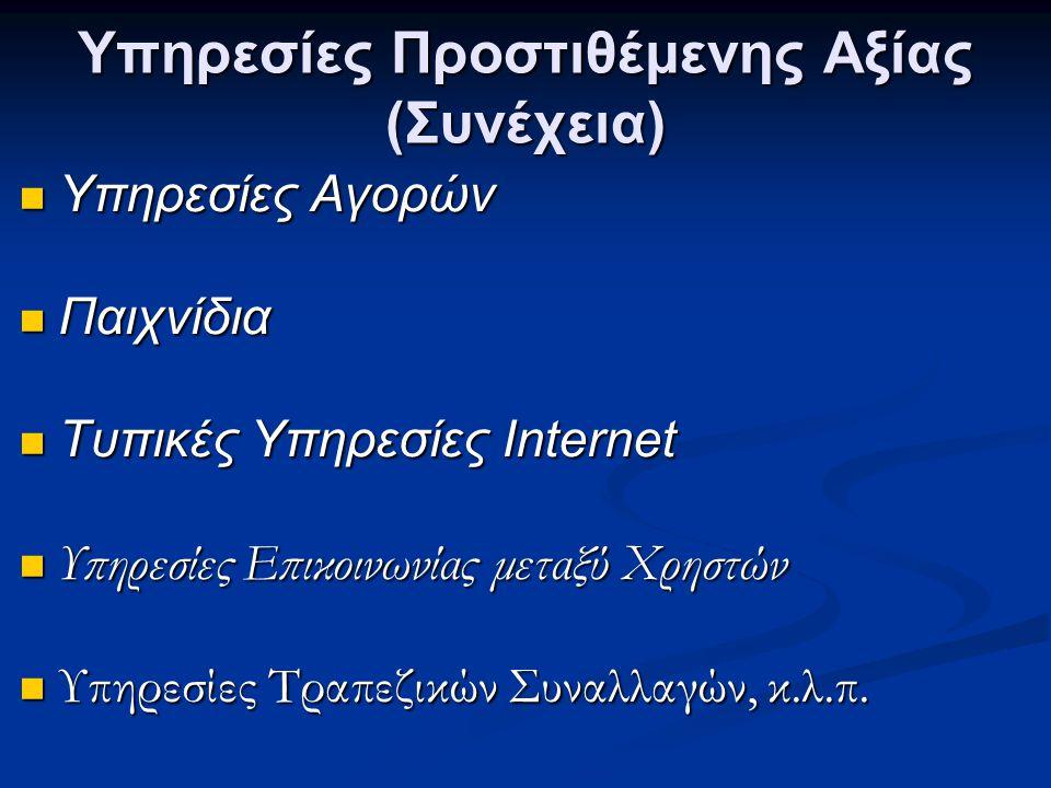 Υπηρεσίες Προστιθέμενης Αξίας (Συνέχεια)  Υπηρεσίες Αγορών  Παιχνίδια  Τυπικές Υπηρεσίες Internet  Υπηρεσίες Επικοινωνίας μεταξύ Χρηστών  Υπηρεσί