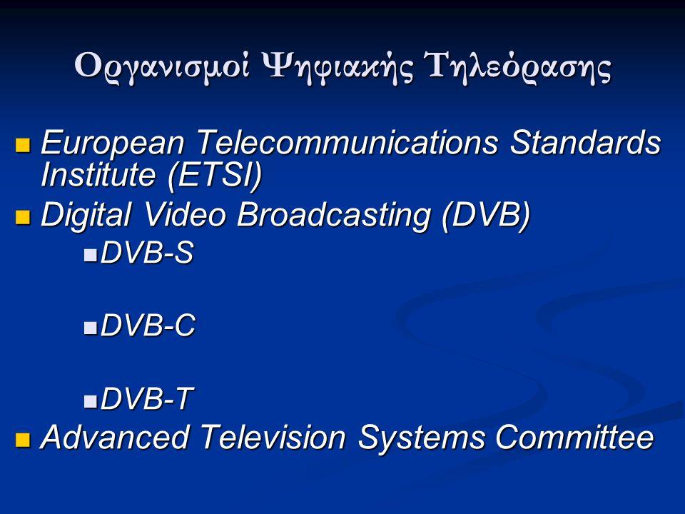 Οργανισμοί Ψηφιακής Τηλεόρασης  European Telecommunications Standards Institute (ETSI)  Digital Video Broadcasting (DVB)  DVB-S  DVB-C  DVB-T  A