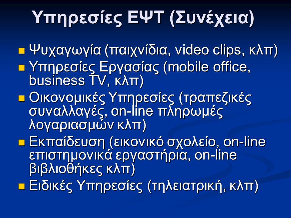 Υπηρεσίες ΕΨΤ (Συνέχεια)  Ψυχαγωγία (παιχνίδια, video clips, κλπ)  Υπηρεσίες Εργασίας (mobile office, business TV, κλπ)  Οικονομικές Υπηρεσίες (τρα