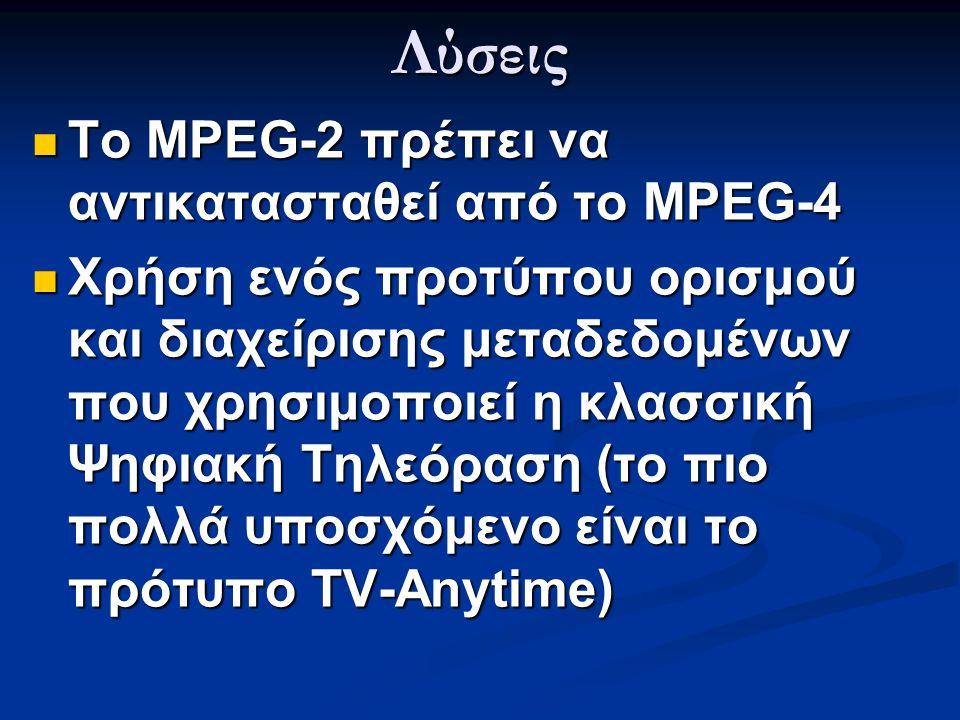 Λύσεις  Το MPEG-2 πρέπει να αντικατασταθεί από το MPEG-4  Χρήση ενός προτύπου ορισμού και διαχείρισης μεταδεδομένων που χρησιμοποιεί η κλασσική Ψηφι