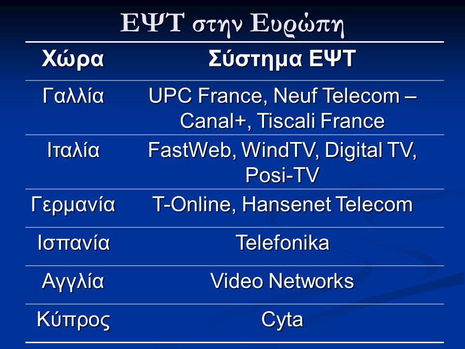 ΕΨΤ στην Ευρώπη Χώρα Σύστημα ΕΨΤ Γαλλία UPC France, Neuf Telecom – Canal+, Tiscali France Ιταλία FastWeb, WindTV, Digital TV, Posi-TV Γερμανία T-Onlin