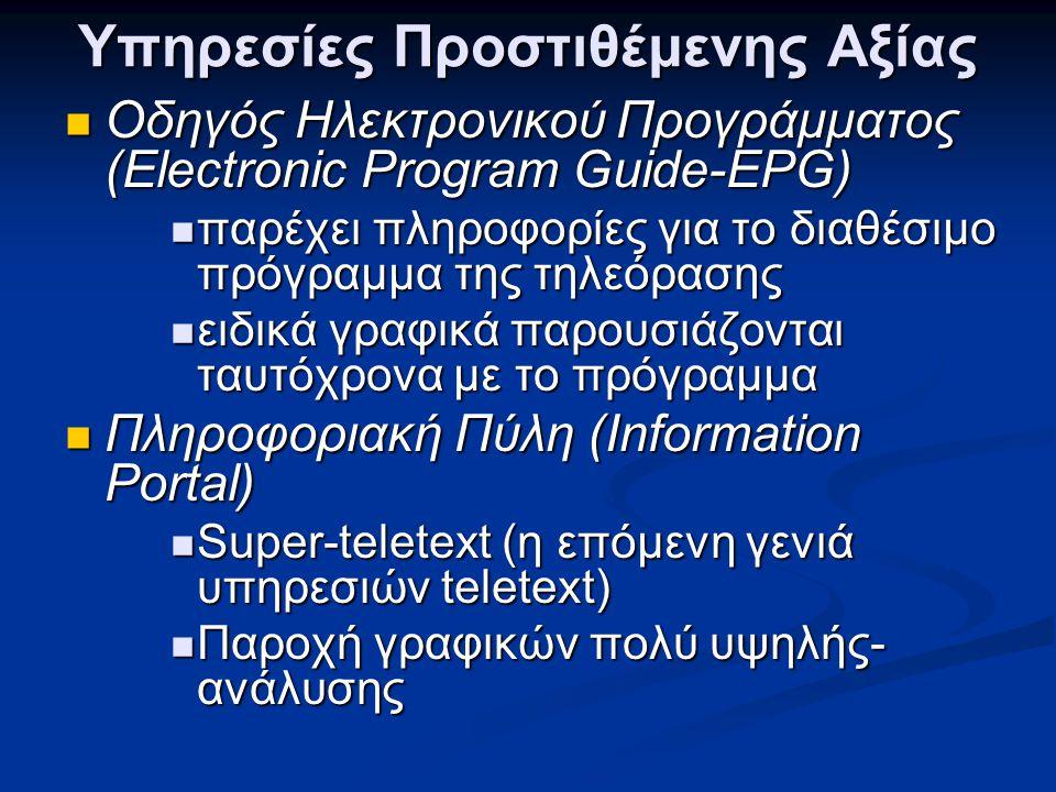 Υπηρεσίες Προστιθέμενης Αξίας  Οδηγός Ηλεκτρονικού Προγράμματος (Electronic Program Guide-EPG)  παρέχει πληροφορίες για το διαθέσιμο πρόγραμμα της τ