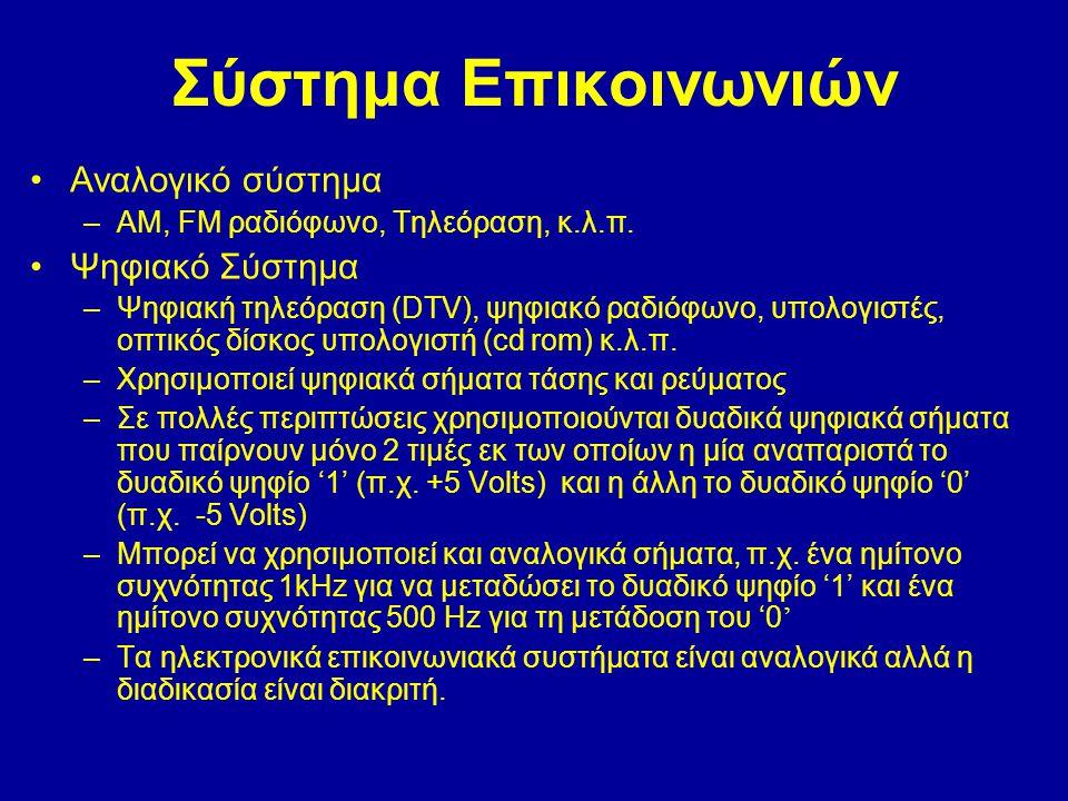 Σύστημα Επικοινωνιών •Αναλογικό σύστημα –AM, FM ραδιόφωνο, Τηλεόραση, κ.λ.π. •Ψηφιακό Σύστημα –Ψηφιακή τηλεόραση (DTV), ψηφιακό ραδιόφωνο, υπολογιστές