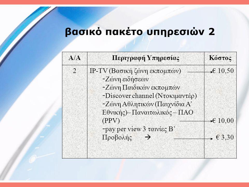 βασικό πακέτο υπηρεσιών 2 A/AΠεριγραφή ΥπηρεσίαςΚόστος 2IP-TV (Βασική ζώνη εκπομπών) - Ζώνη ειδήσεων - Ζώνη Παιδικών εκπομπών - Discover channel (Ντοκιμαντέρ) - Ζώνη Αθλητικών (Παιχνίδια Α' Εθνικής)– Παναιτωλικός – ΠΑΟ (PPV) - pay per view 3 ταινίες Β' Προβολής  € 10,50 € 10,00 € 3,30