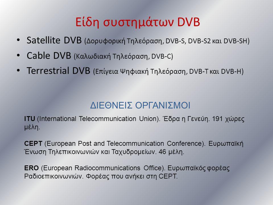 Είδη συστημάτων DVB • Satellite DVB (Δορυφορική Τηλεόραση, DVB-S, DVB-S2 και DVB-SH) • Cable DVB (Καλωδιακή Τηλεόραση, DVB-C) • Terrestrial DVB (Επίγε