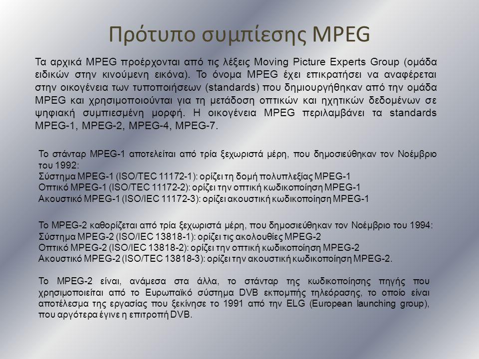 Πρότυπο συμπίεσης MPEG Τα αρχικά MPEG προέρχονται από τις λέξεις Moving Picture Experts Group (ομάδα ειδικών στην κινούμενη εικόνα). Το όνομα MPEG έχε