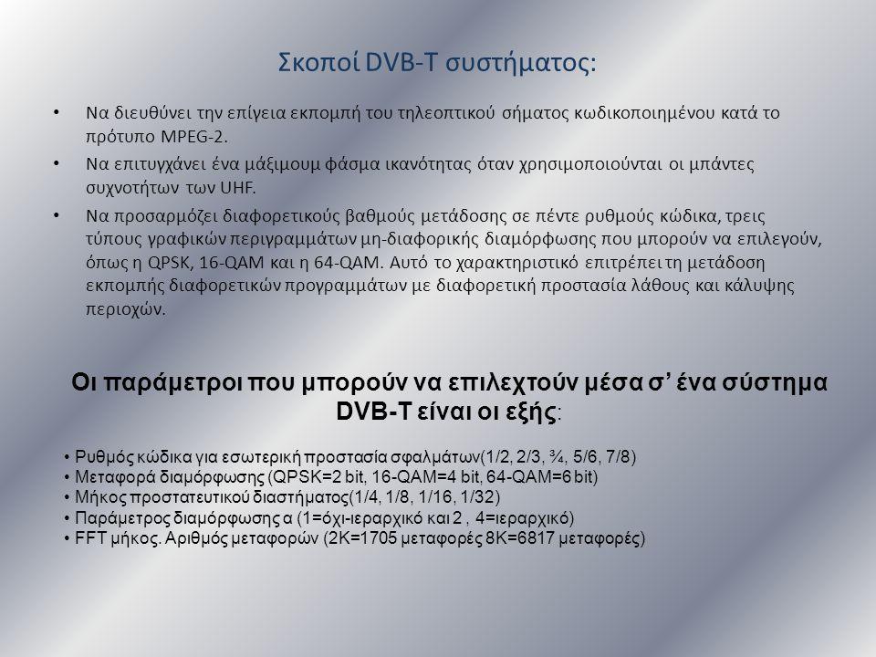Σκοποί DVB-T συστήματος: • Να διευθύνει την επίγεια εκπομπή του τηλεοπτικού σήματος κωδικοποιημένου κατά το πρότυπο MPEG-2. • Να επιτυγχάνει ένα μάξιμ
