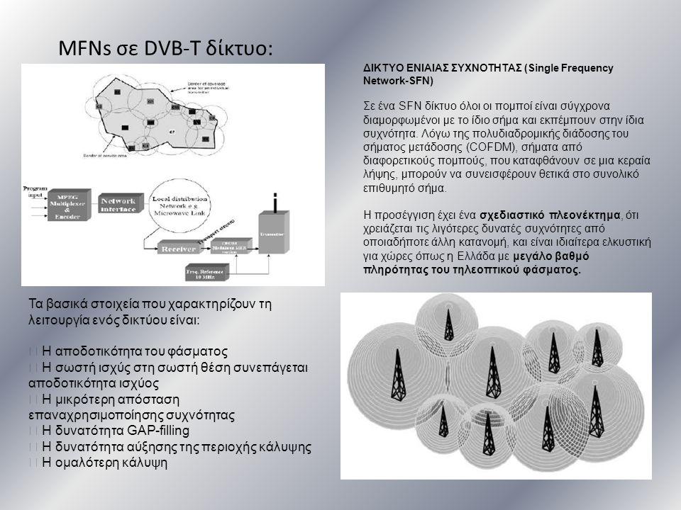 MFNs σε DVB-T δίκτυο: Τα βασικά στοιχεία που χαρακτηρίζουν τη λειτουργία ενός δικτύου είναι:  Η αποδοτικότητα του φάσματος  Η σωστή ισχύς στη σωστή