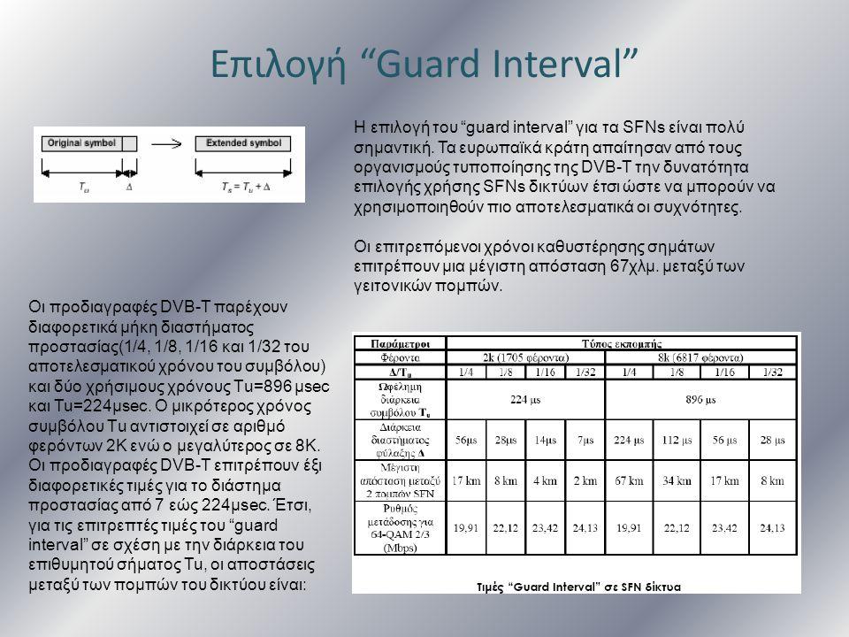"""Επιλογή """"Guard Interval"""" Η επιλογή του """"guard interval"""" για τα SFNs είναι πολύ σημαντική. Τα ευρωπαϊκά κράτη απαίτησαν από τους οργανισμούς τυποποίηση"""