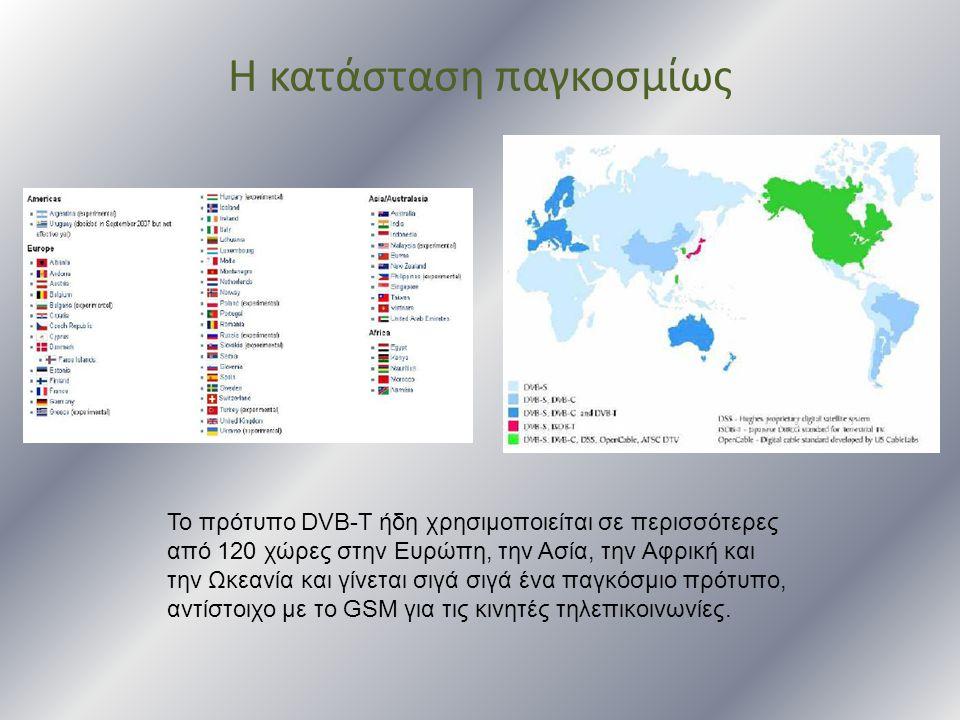 Η κατάσταση παγκοσμίως Το πρότυπο DVB-T ήδη χρησιμοποιείται σε περισσότερες από 120 χώρες στην Ευρώπη, την Ασία, την Αφρική και την Ωκεανία και γίνετα