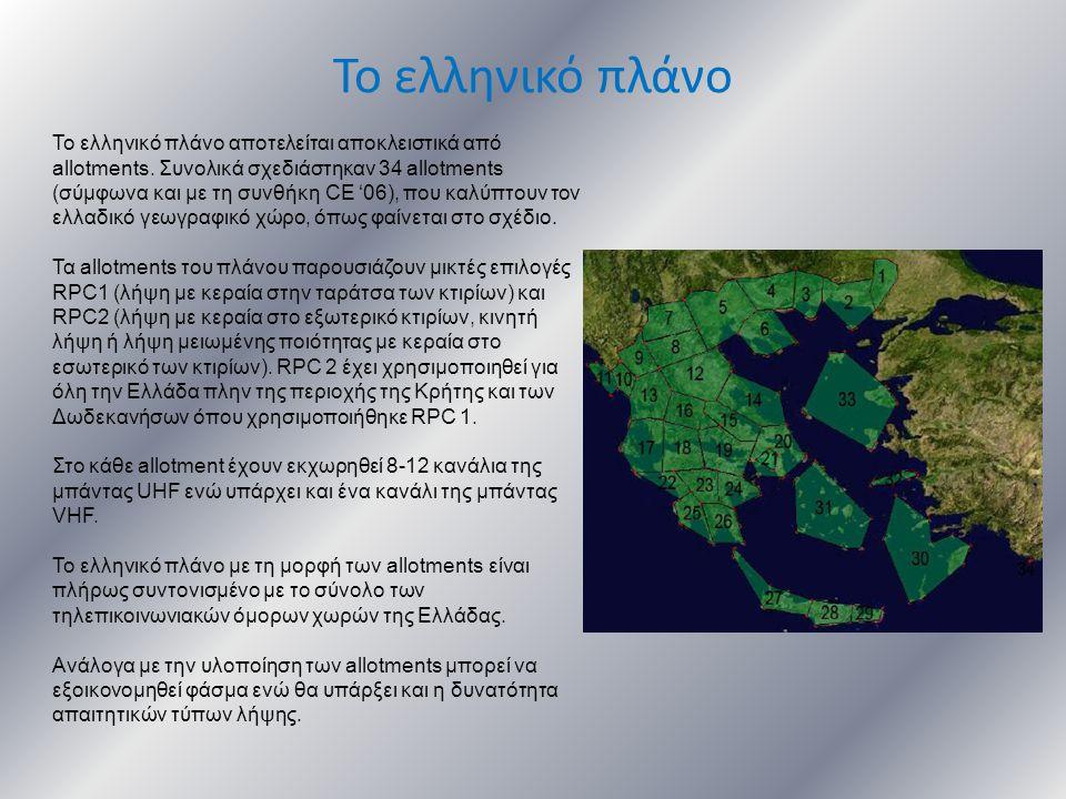 Το ελληνικό πλάνο Το ελληνικό πλάνο αποτελείται αποκλειστικά από allotments. Συνολικά σχεδιάστηκαν 34 allotments (σύμφωνα και με τη συνθήκη CE '06), π