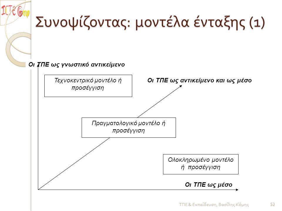 Συνοψίζοντας : μοντέλα ένταξης (1) Οι ΤΠΕ ως μέσο Οι ΤΠΕ ως γνωστικό αντικείμενο Τεχνοκεντρικό μοντέλο ή π ροσέγγιση Ολοκληρωμένο μοντέλο ή π ροσέγγιση Πραγματολογικό μοντέλο ή π ροσέγγιση Οι ΤΠΕ ως αντικείμενο και ως μέσο ΤΠΕ & Εκπαίδευση, Βασίλης Κόμης 52