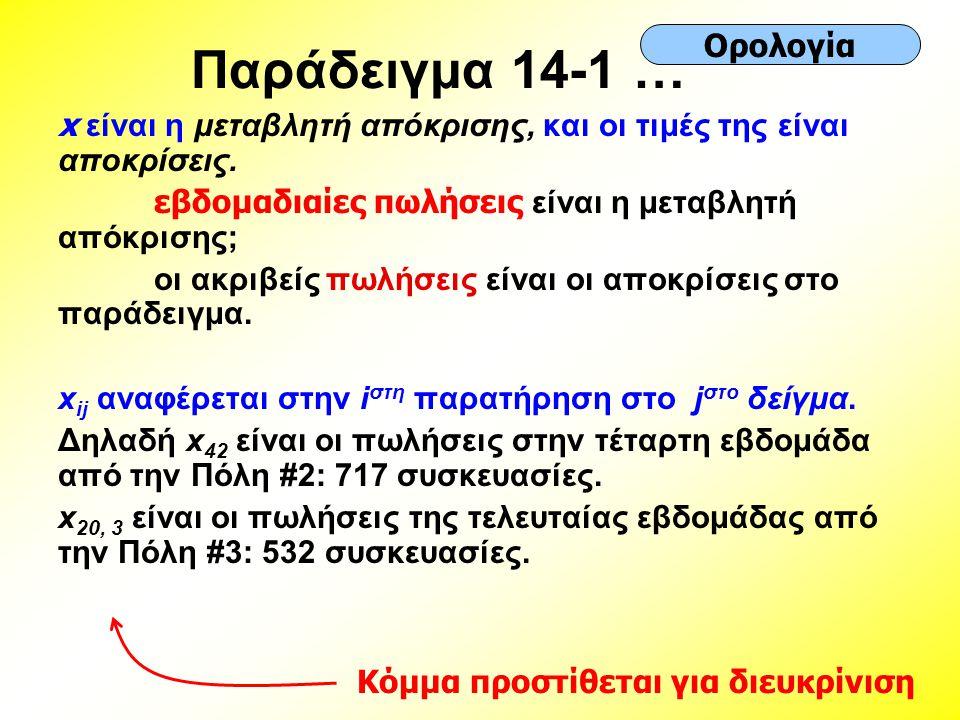 Παράδειγμα 14-1 … x είναι η μεταβλητή απόκρισης, και οι τιμές της είναι αποκρίσεις. εβδομαδιαίες πωλήσεις είναι η μεταβλητή απόκρισης; οι ακριβείς πωλ