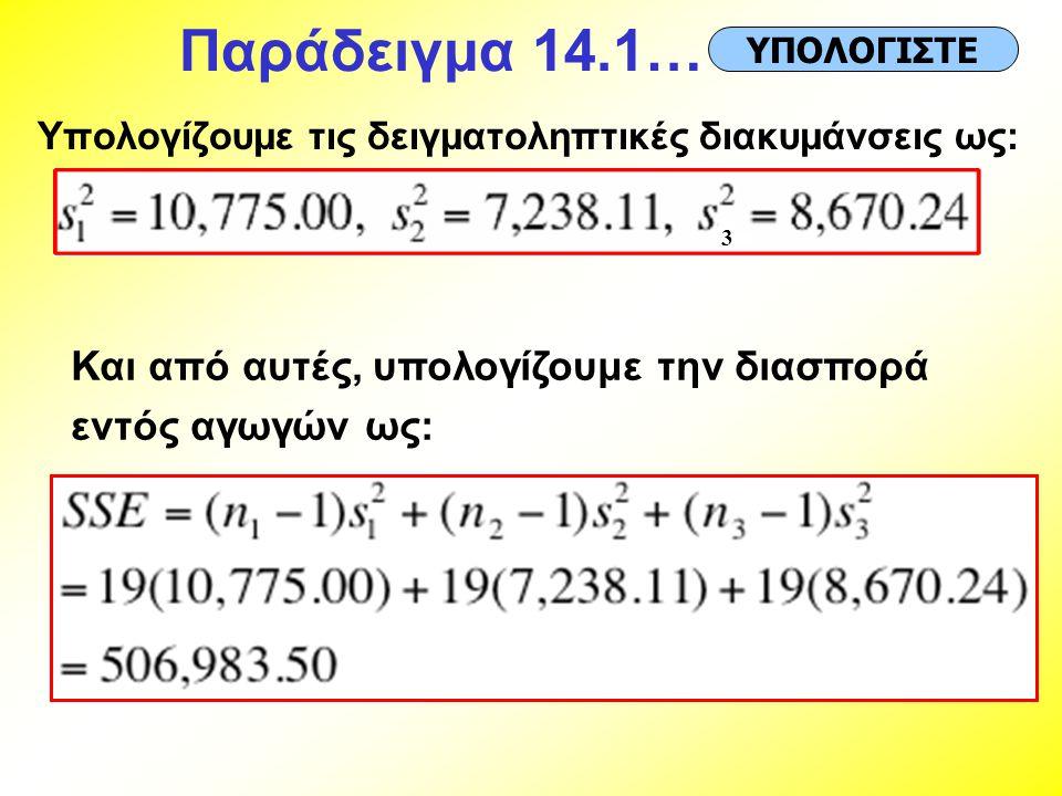 Παράδειγμα 14.1… Υπολογίζουμε τις δειγματοληπτικές διακυμάνσεις ως: ΥΠΟΛΟΓΙΣΤΕ 3 Και από αυτές, υπολογίζουμε την διασπορά εντός αγωγών ως:
