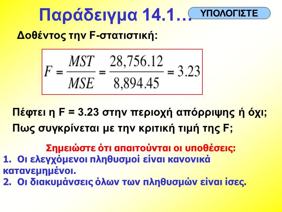 Δοθέντος την F-στατιστική: Πέφτει η F = 3.23 στην περιοχή απόρριψης ή όχι; Πως συγκρίνεται με την κριτική τιμή της F; Σημειώστε ότι απαιτούνται οι υπο