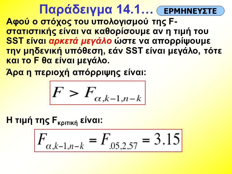 Παράδειγμα 14.1… Αφού ο στόχος του υπολογισμού της F- στατιστικής είναι να καθορίσουμε αν η τιμή του SST είναι αρκετά μεγάλο ώστε να απορρίψουμε την μ