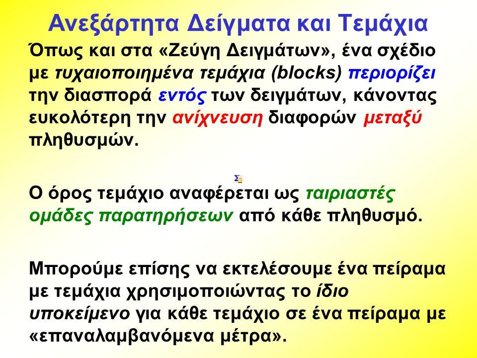 Ανεξάρτητα Δείγματα και Τεμάχια Όπως και στα «Ζεύγη Δειγμάτων», ένα σχέδιο με τυχαιοποιημένα τεμάχια (blocks) περιορίζει την διασπορά εντός των δειγμά