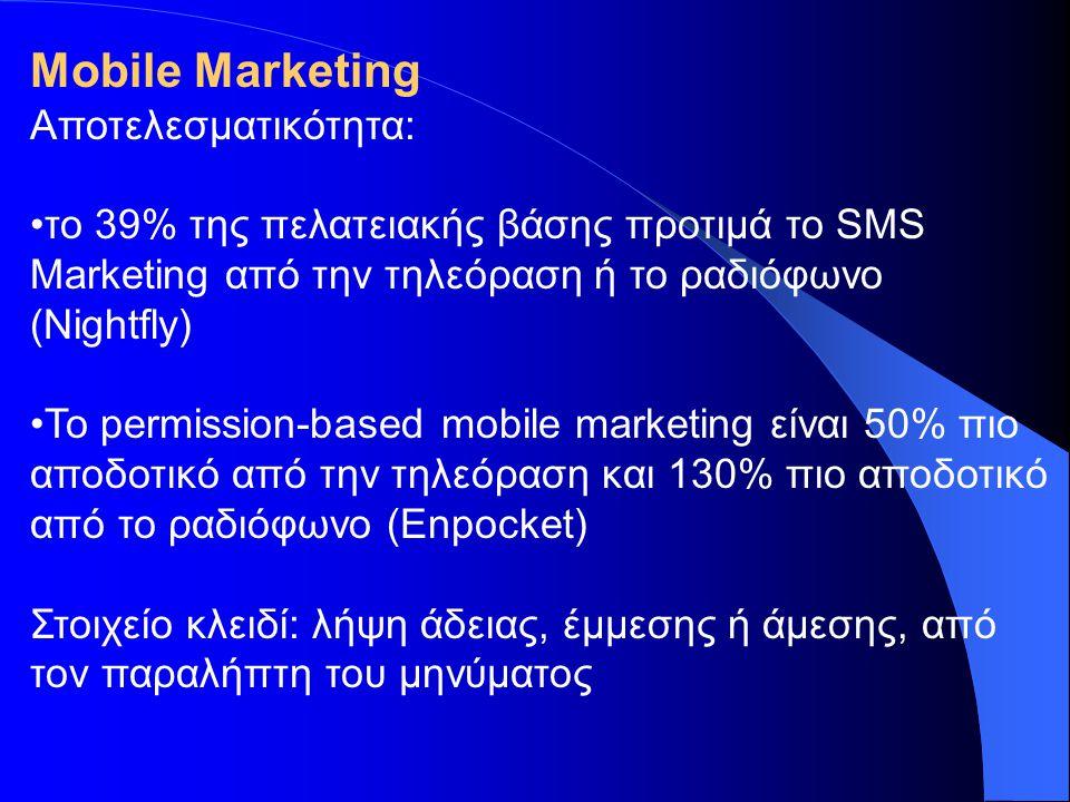 Αποδοτικές Τακτικές •Η άδεια είναι αναγκαία •Βελτιστοποίηση του μηνύματος για διάφορες πλατφόρμες (SMS/MMS) •Τρίπτυχο Επιτυχίας: Σωστή προσφορά, τη σωστή στιγμή, στο σωστό κοινό •Στόχευση του κοινού •Προσφορές με αξία •Viral marketing