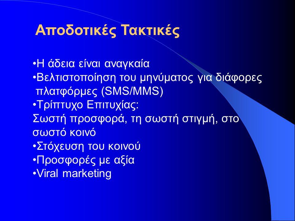 Χαρακτηριστικές Εφαρμογές mobile marketing •Τηλεοπτικά και ραδιοφωνικά προγράμματα •Διαγωνισμοί