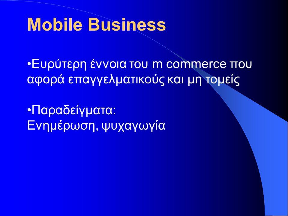 Πλεονεκτήματα του m business •Άμεση πληροφόρηση και επικοινωνία μεταξύ επιχειρήσεων και πελατών •Άνοιγμα σε νέες αγορές- δραστηριοποίηση και σε εθνικό και σε παγκόσμιο επίπεδο •Αύξηση της ταχύτητας διεκπεραίωσης των συναλλαγών-εργασιών •Πρόσβαση σε πληθώρα υπηρεσιών και επιλογών-βελτίωση παροχής υπηρεσιών, λόγω αυξημένου ανταγωνισμού