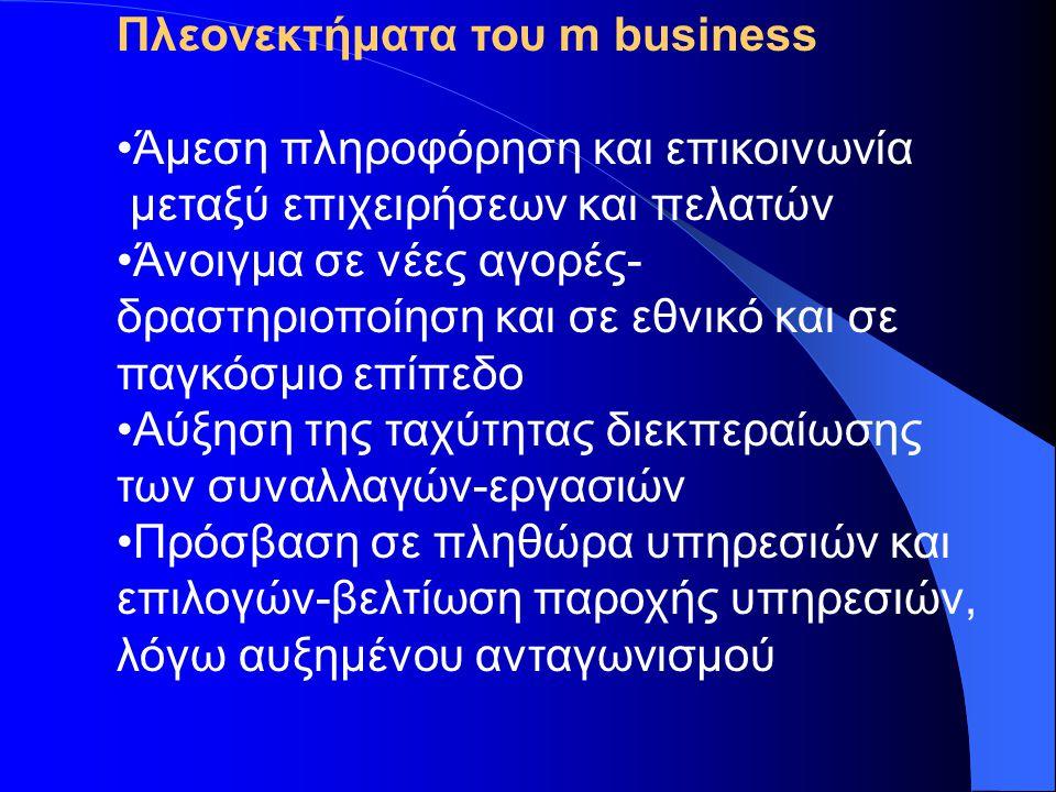 Πλεονεκτήματα του m business •Άμεση πληροφόρηση και επικοινωνία μεταξύ επιχειρήσεων και πελατών •Άνοιγμα σε νέες αγορές- δραστηριοποίηση και σε εθνικό