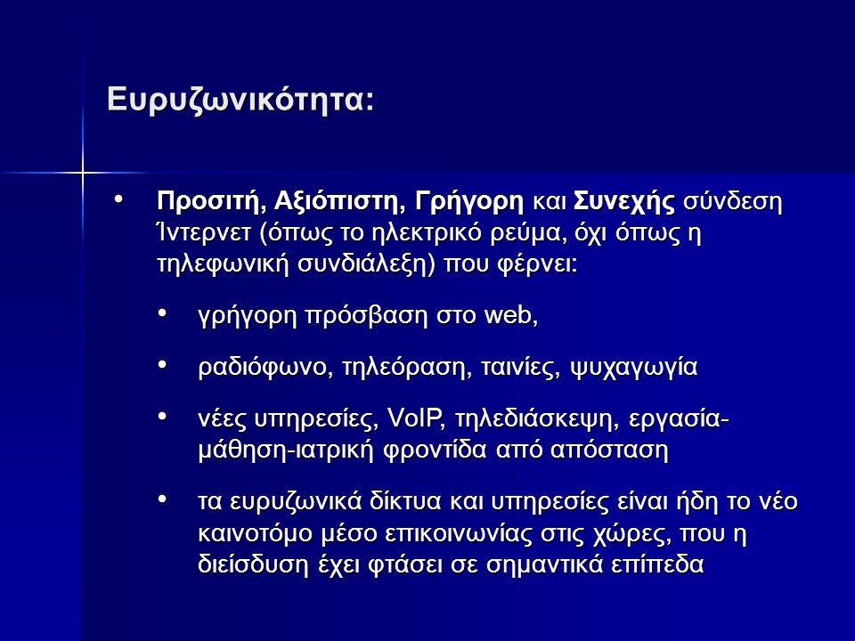 Ευρυζωνικότητα: • Προσιτή, Αξιόπιστη, Γρήγορη και Συνεχής σύνδεση Ίντερνετ (όπως το ηλεκτρικό ρεύμα, όχι όπως η τηλεφωνική συνδιάλεξη) που φέρνει: • γρήγορη πρόσβαση στο web, • ραδιόφωνο, τηλεόραση, ταινίες, ψυχαγωγία • νέες υπηρεσίες, VοIP, τηλεδιάσκεψη, εργασία- μάθηση-ιατρική φροντίδα από απόσταση • τα ευρυζωνικά δίκτυα και υπηρεσίες είναι ήδη το νέο καινοτόμο μέσο επικοινωνίας στις χώρες, που η διείσδυση έχει φτάσει σε σημαντικά επίπεδα