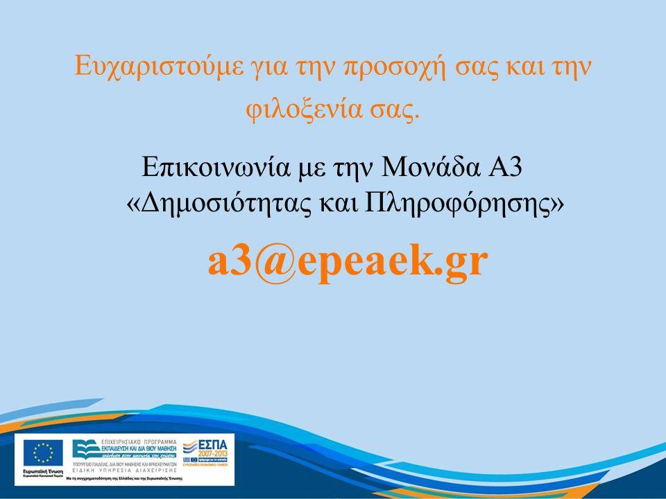 Ευχαριστούμε για την προσοχή σας και την φιλοξενία σας. Επικοινωνία με την Μονάδα Α3 «Δημοσιότητας και Πληροφόρησης» a3@epeaek.gr