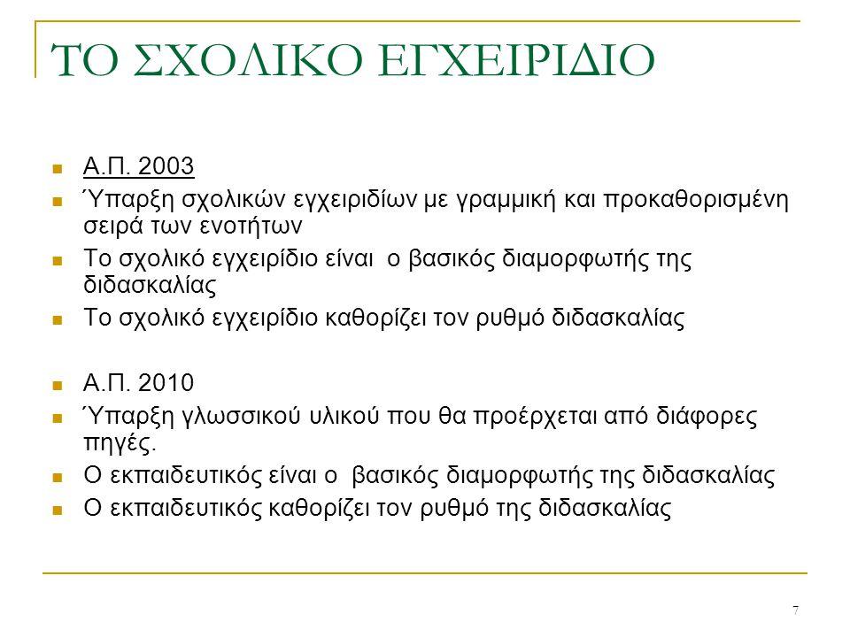7 ΤΟ ΣΧΟΛΙΚΟ ΕΓΧΕΙΡΙΔΙΟ  Α.Π. 2003  Ύπαρξη σχολικών εγχειριδίων με γραμμική και προκαθορισμένη σειρά των ενοτήτων  Το σχολικό εγχειρίδιο είναι ο βα