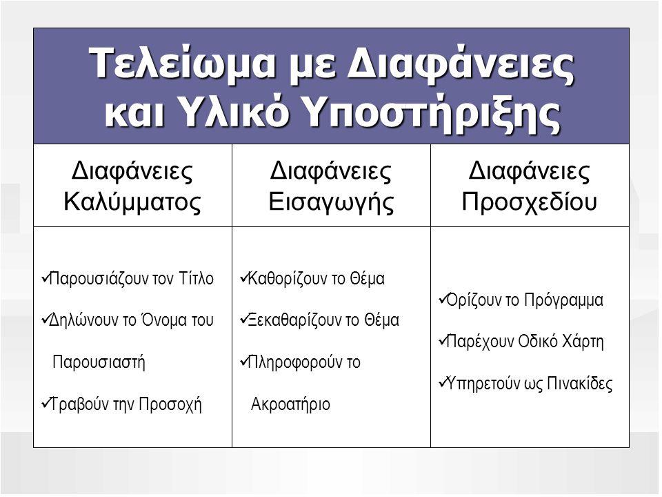Τελείωμα με Διαφάνειες και Υλικό Υποστήριξης Διαφάνειες Καλύμματος Διαφάνειες Εισαγωγής Διαφάνειες Προσχεδίου  Παρουσιάζουν τον Τίτλο  Δηλώνουν το Ό