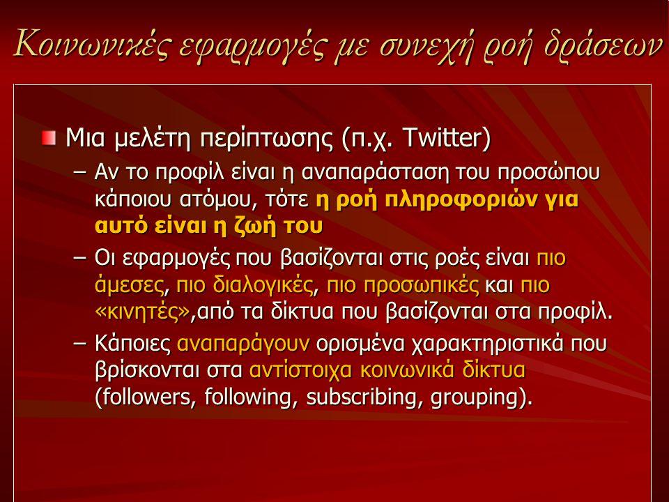 Κοινωνικές εφαρμογές με συνεχή ροή δράσεων Μια μελέτη περίπτωσης (π.χ. Twitter) –Αν το προφίλ είναι η αναπαράσταση του προσώπου κάποιου ατόμου, τότε η