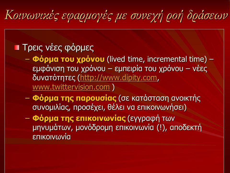 Κοινωνικές εφαρμογές με συνεχή ροή δράσεων Τρεις νέες φόρμες –Φόρμα του χρόνου (lived time, incremental time) – εμφάνιση του χρόνου – εμπειρία του χρό