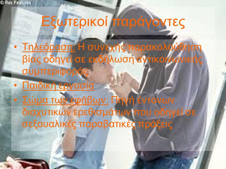 Εξωτερικοί παράγοντες •Τηλεόραση: Η συνεχής παρακολούθηση βίας οδηγεί σε εκδήλωση αντικοινωνικής συμπεριφοράς •Παιδική εργασία •Σώμα των εφήβων: Πηγή έντονων διαχυτικών ερεθισμάτων που οδηγεί σε σεξουαλικές παραβατικές πράξεις