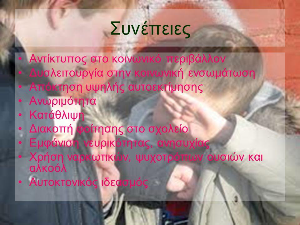 Συνέπειες •Αντίκτυπος στο κοινωνικό περιβάλλον •Δυσλειτουργία στην κοινωνική ενσωμάτωση •Απόκτηση υψηλής αυτοεκτίμησης •Ανωριμότητα •Κατάθλιψη •Διακοπή φοίτησης στο σχολείο •Εμφάνιση νευρικότητας, ανησυχίας •Χρήση ναρκωτικών, ψυχοτρόπων ουσιών και αλκοόλ •Αυτοκτονικός ιδεασμός