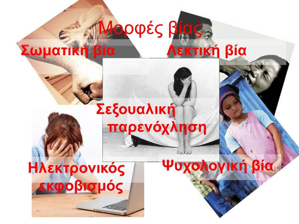 Λεκτική βίαΣωματική βία Ψυχολογική βία Ηλεκτρονικός εκφοβισμός Σεξουαλική παρενόχληση Μορφές βίας