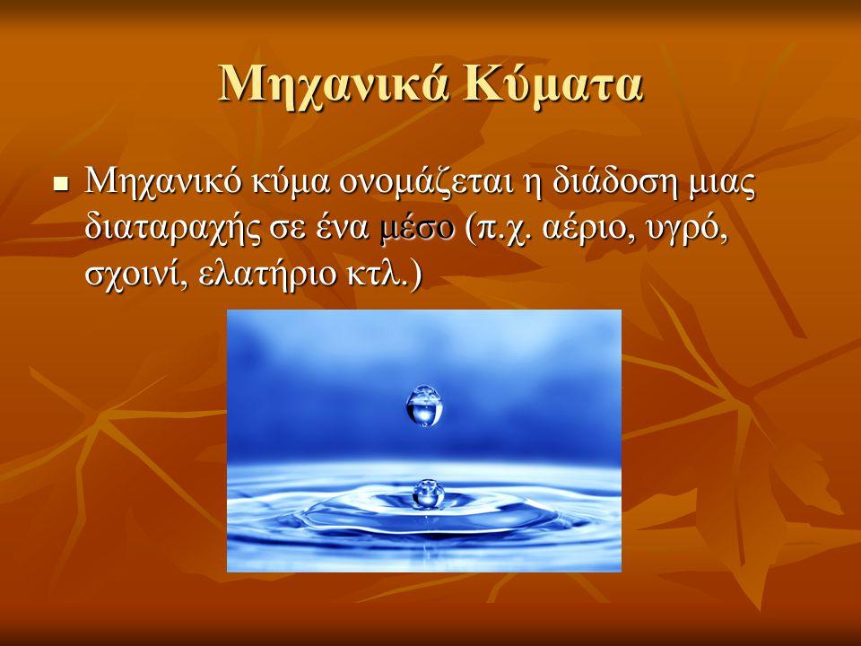 Μηχανικά Κύματα  Μηχανικό κύμα ονομάζεται η διάδοση μιας διαταραχής σε ένα μέσο (π.χ. αέριο, υγρό, σχοινί, ελατήριο κτλ.)
