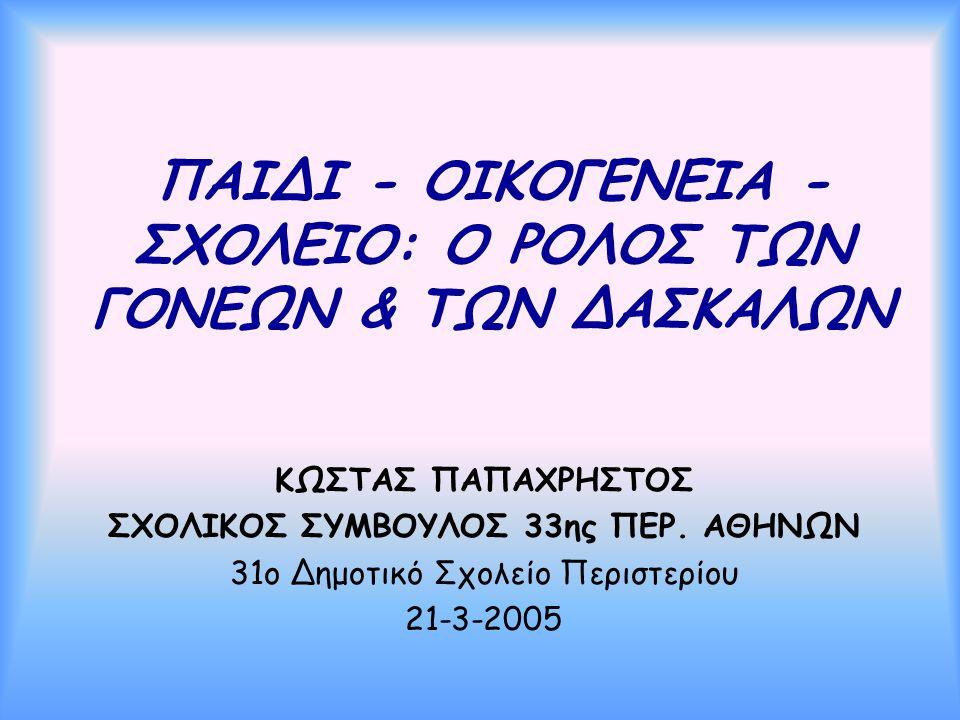 ΠΑΙΔΙ - ΟΙΚΟΓΕΝΕΙΑ - ΣΧΟΛΕΙΟ: Ο ΡΟΛΟΣ ΤΩΝ ΓΟΝΕΩΝ & ΤΩΝ ΔΑΣΚΑΛΩΝ ΚΩΣΤΑΣ ΠΑΠΑΧΡΗΣΤΟΣ ΣΧΟΛΙΚΟΣ ΣΥΜΒΟΥΛΟΣ 33ης ΠΕΡ. ΑΘΗΝΩΝ 31ο Δημοτικό Σχολείο Περιστερίο