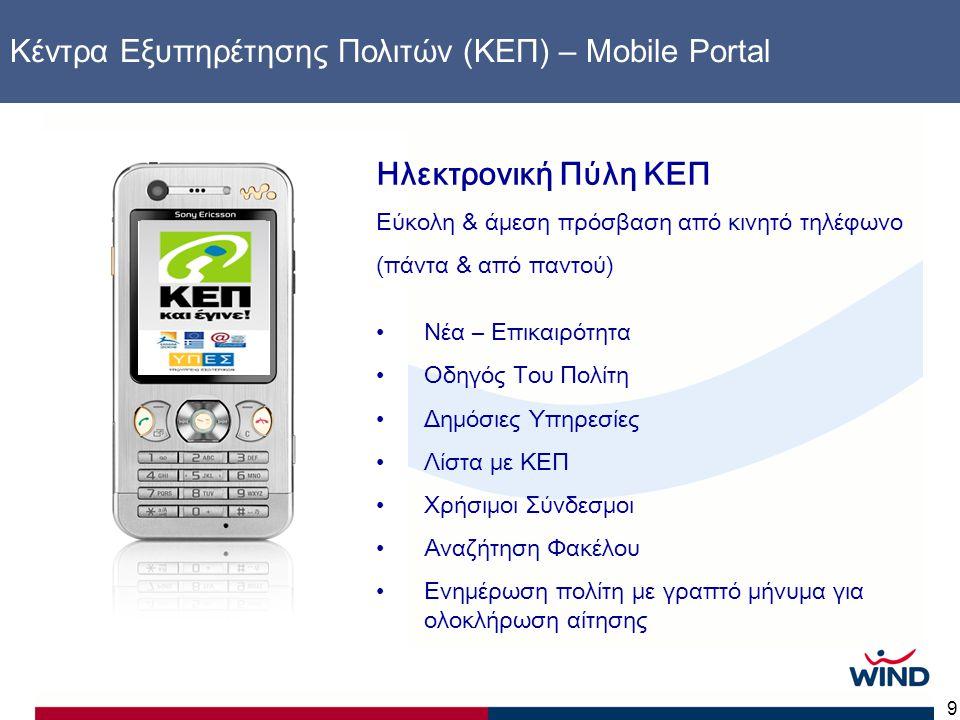 9 Κέντρα Εξυπηρέτησης Πολιτών (ΚΕΠ) – Mobile Portal Ηλεκτρονική Πύλη ΚΕΠ Εύκολη & άμεση πρόσβαση από κινητό τηλέφωνο (πάντα & από παντού) •Νέα – Επικα