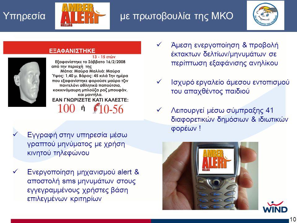10 Υπηρεσία με πρωτοβουλία της ΜΚΟ  Άμεση ενεργοποίηση & προβολή έκτακτων δελτίων/μηνυμάτων σε περίπτωση εξαφάνισης ανηλίκου  Ισχυρό εργαλείο άμεσου εντοπισμού του απαχθέντος παιδιού  Λειτουργεί μέσω σύμπραξης 41 διαφορετικών δημόσιων & ιδιωτικών φορέων .