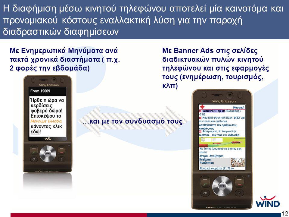 12 Η διαφήμιση μέσω κινητού τηλεφώνου αποτελεί μία καινοτόμα και προνομιακού κόστους εναλλακτική λύση για την παροχή διαδραστικών διαφημίσεων Με Ενημερωτικά Μηνύματα ανά τακτά χρονικά διαστήματα ( π.χ.