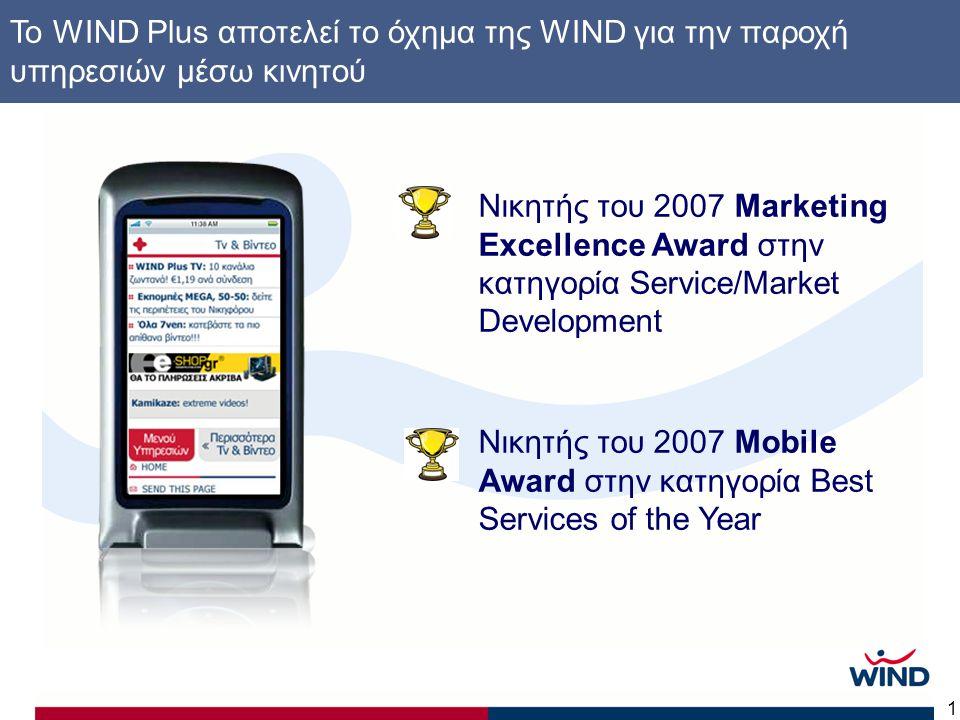 1 Νικητής του 2007 Marketing Excellence Award στην κατηγορία Service/Market Development Νικητής του 2007 Mobile Award στην κατηγορία Best Services of the Year To WIND Plus αποτελεί το όχημα της WIND για την παροχή υπηρεσιών μέσω κινητού