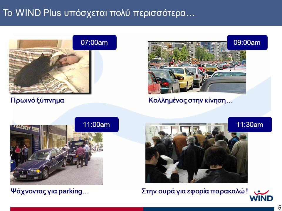 5 www.windplus.gr Το WIND Plus υπόσχεται πολύ περισσότερα… 07:00am Πρωινό ξύπνημαΚολλημένος στην κίνηση… 09:00am Ψάχνοντας για parking… 11:00am Στην ουρά για εφορία παρακαλώ .