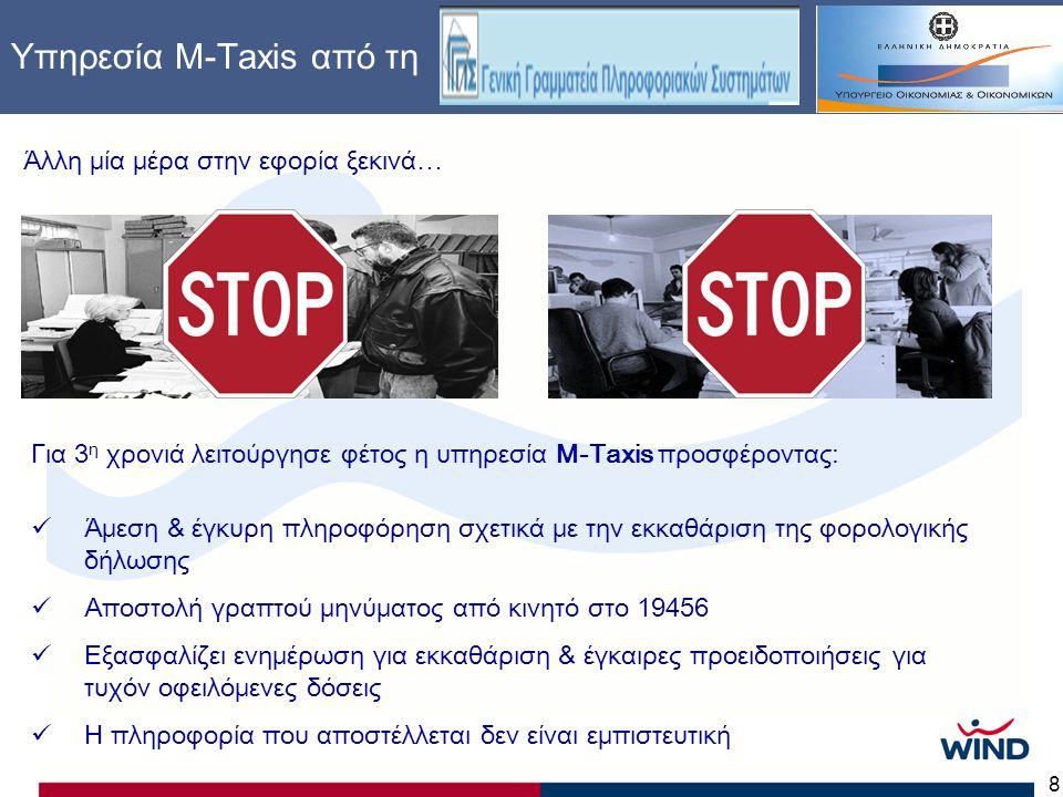 8 Υπηρεσία Μ-Τaxis από τη Άλλη μία μέρα στην εφορία ξεκινά… Για 3 η χρονιά λειτούργησε φέτος η υπηρεσία M-Taxis προσφέροντας:  Άμεση & έγκυρη πληροφόρηση σχετικά με την εκκαθάριση της φορολογικής δήλωσης  Αποστολή γραπτού μηνύματος από κινητό στο 19456  Εξασφαλίζει ενημέρωση για εκκαθάριση & έγκαιρες προειδοποιήσεις για τυχόν οφειλόμενες δόσεις  Η πληροφορία που αποστέλλεται δεν είναι εμπιστευτική