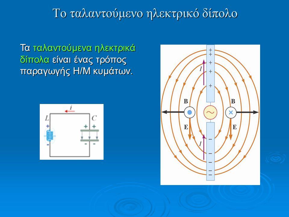 Το ταλαντούμενο ηλεκτρικό δίπολο Τα ταλαντούμενα ηλεκτρικά δίπολα είναι ένας τρόπος παραγωγής Η/Μ κυμάτων.