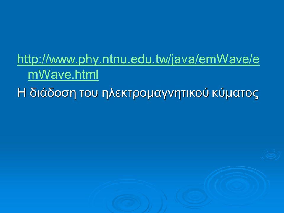 http://www.phy.ntnu.edu.tw/java/emWave/e mWave.html Η διάδοση του ηλεκτρομαγνητικού κύματος