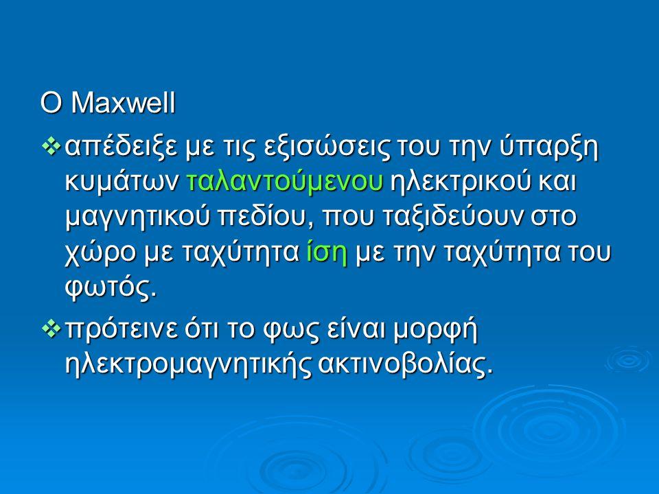 Ο Maxwell  απέδειξε με τις εξισώσεις του την ύπαρξη κυμάτων ταλαντούμενου ηλεκτρικού και μαγνητικού πεδίου, που ταξιδεύουν στο χώρο με ταχύτητα ίση μ