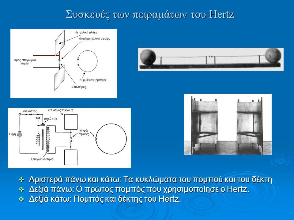 Συσκευές των πειραμάτων του Hertz  Αριστερά πάνω και κάτω: Τα κυκλώματα του πομπού και του δέκτη  Δεξιά πάνω: Ο πρώτος πομπός που χρησιμοποίησε ο He