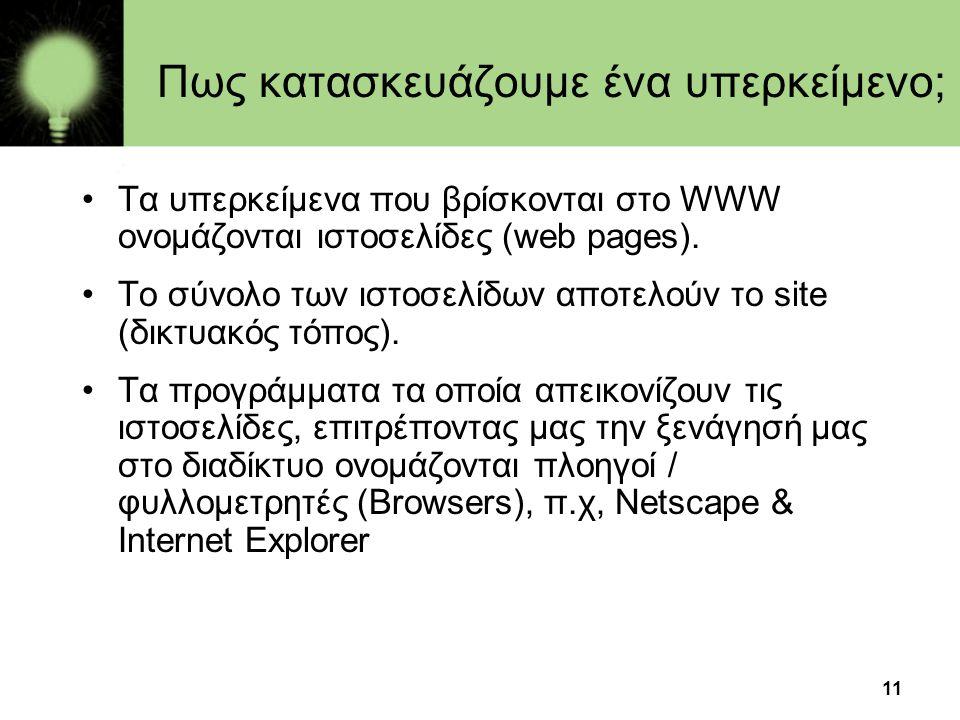 11 Πως κατασκευάζουμε ένα υπερκείμενο; •Τα υπερκείμενα που βρίσκονται στο WWW ονομάζονται ιστοσελίδες (web pages). •Το σύνολο των ιστοσελίδων αποτελού